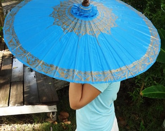 Hand Painted Blue Parasol, Blue Umbrella, Parasol, Umbrella, Parasols, Umbrellas, Wedding Parasol, Waterproof Parasol, Parasol Umbrella