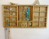 Jewelry Organizer Display Hanger Holder Golden Oak Stain Handmade Large