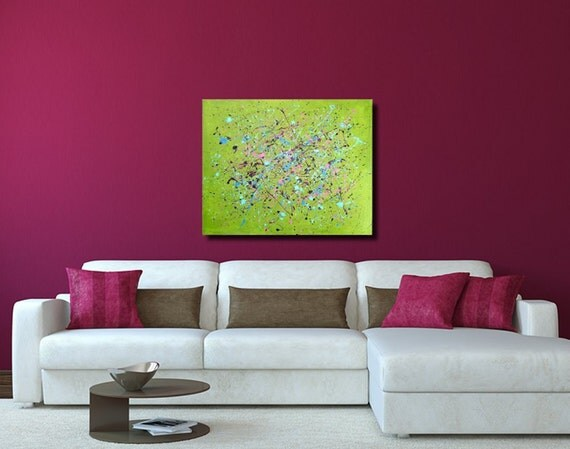 Large Abstract Painting, Lime Green Splatter Painting 24x30 Abstract Art, Bright Green Home Decor by Nacene Prchal