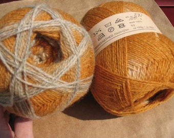 Tan Beige White Kauni EN 2 ply wool sport weight yarn. Knit Crochet and Felt. Imported from Denmark. Ships from USA