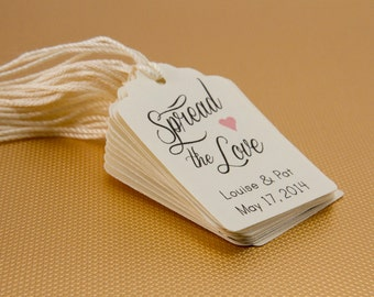 25- Spread The Love Favor tag, Wedding Thank you Tag, Customizable Thanks Tag, Cottage Rustic Chic Thank you Tag, Shower Tag, Favor Label
