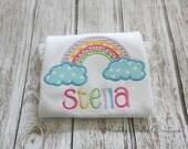 Cute Trendy Gingham Pastel Rainbow Appliqued Shirt - Embroidered Shirt, Personalized Shirt, Monogram, Rainbow, Gingham, Girls, Toddler