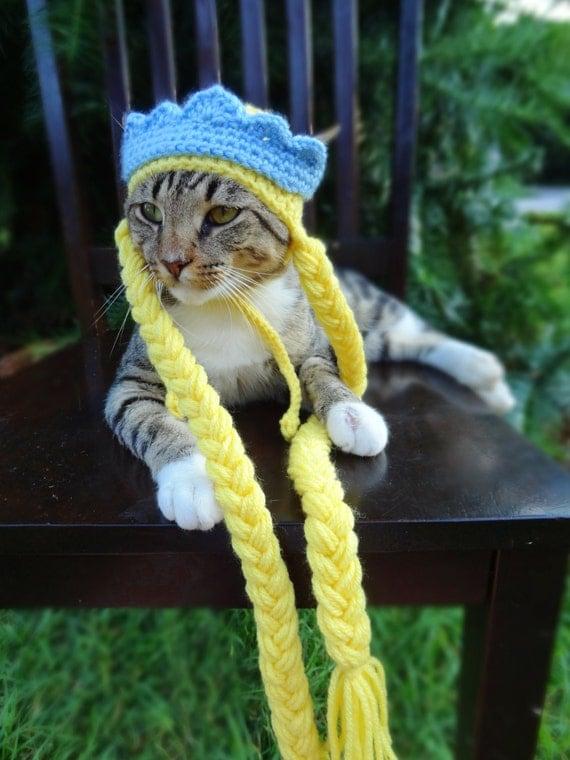 Rapunzel Cat Costume, Rapunzel Cat Hat, Princess Cat Hat, Princess Hat for Cats, Princess Cat Costume, Princess Costume for Cats