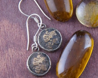 Ancient Greek Coin Earrings - 925 Sterling Silver Frame - Greek Soldier