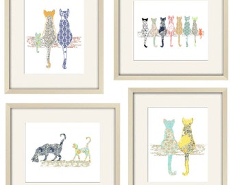 cat decor cat art cat nursery baby girl nursery decor cat print baby animal art kitten art gift for her gift for mom cottage chic print