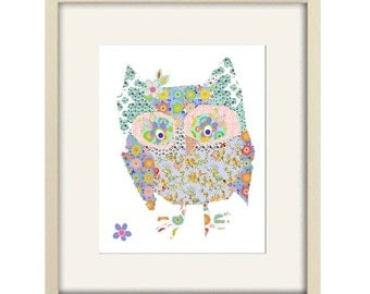 owl art print, baby girl nursery decor, owl decor, owl nursery decor, baby shower gift, kids wall decor, nursery decor owl print, baby girl