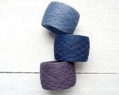 300gram Linen flax purple, dark blue, blue - natural linen thread