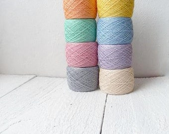 Pastel rainbow mix of linen yarn - Linen crochet thread