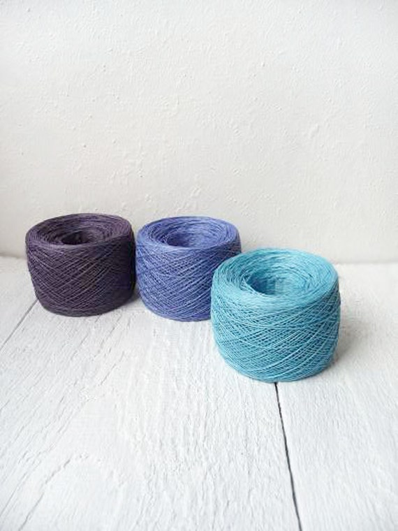 Linen Yarn,  set of 3 balls, natural linen thread, light blue, blue, purple, linen thread