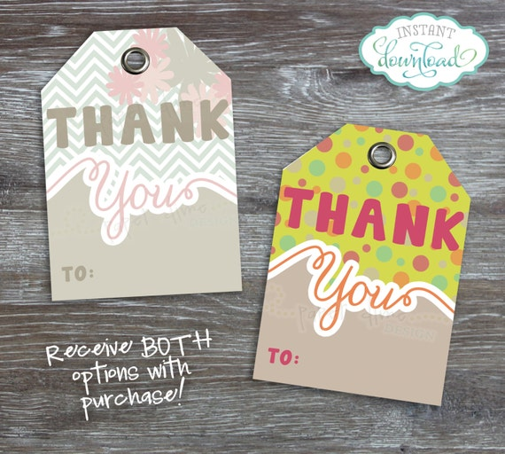 INSTANT DOWNLOAD - Printable Gift Tags: Label, Thank You, Polka Dots, Chevron, Pastel, Shabby, Colorful, Bright - PDF File, You Print