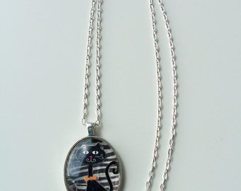 Black cat glass pendant necklace - metal and glass jewelry - oval glass pendant - black cat necklace