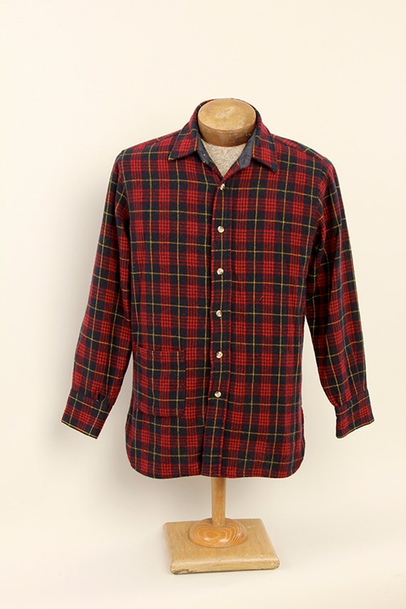 Mens plaid wool camp button down over shirt red navy for Wool button down shirt