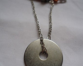 The Metalsmith: pin with large zinc washer, silver chain