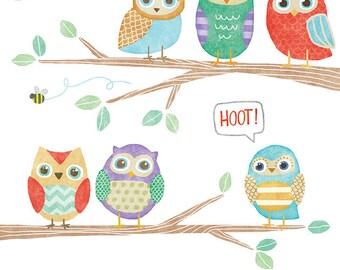 Owls in a Tree - Cute Digital Clipart Illustrations