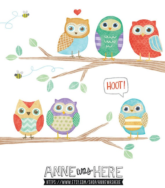 ... similar to Owls in a Tree - Cute Digital Clipart Illustrations on Etsy