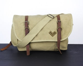 Studded Chevron Stripe Canvas and Leather Messenger Bag