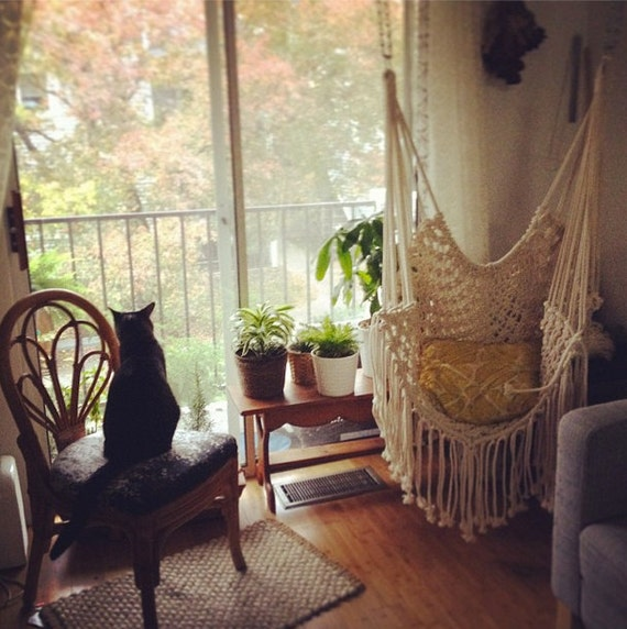 Hippy hammock macrame chair by thethrowbackdaze on etsy - Make a macrame hanging chair ...