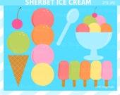 80% SALE Ice Cream Party Clip Art - Sherbet Ice Cream Clipart - Cute, Popsicle,  Summer, Food, Dessert Clip Art - NRCDesignStudio