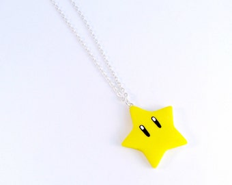 Super Mario Invincibility Star Necklace, Power Up, Cute, Kawaii :D