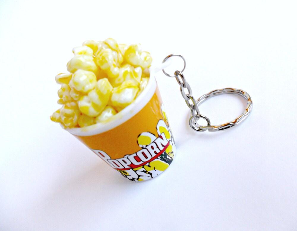 Popcorn Keychain Key Ring Miniature Food Cute