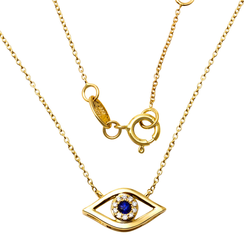 14k gold evil eye necklace diamond and. Black Bedroom Furniture Sets. Home Design Ideas