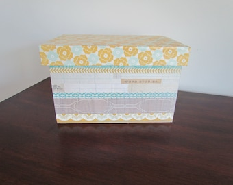 Turquoise, Chartreuse & Gray  Covered Box