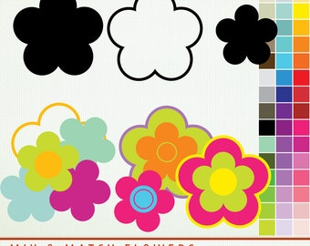 Mix and Match Clip Art Flowers - 45 Colors - Rainbow - ClipArt Scrapbooking Personal and Commercial  Instant Download  G7266