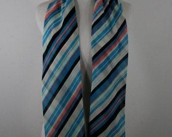 Vintage 1980s Oblong Striped Scarf, Tie, Headband