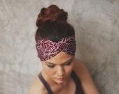 NEW : Red Oak, Hippie Boho, Turban Twist Headband,hair wrap, geometric graphics