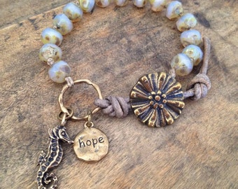 """Sea Horse Rustic Knotted Leather Wrap Bracelet """"Hope"""" Beach Chic Beaded Jewelry by Two Silver Sisters"""