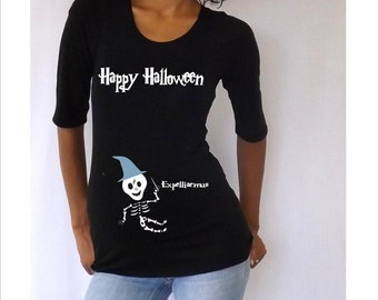 "Maternity Halloween shirt "" Happy Halloween""  with Cute baby skeleton"