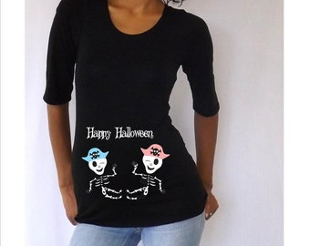 "Maternity  Twin Halloween shirt "" Happy Halloween""  with Cute babies skeleton Stylish, FUN  3/4 sleeves Choose your Size S, M,L,XL"