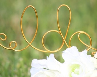 Gold Wire I DO wedding Cake Toppers - Decoration - Beach wedding - Bridal Shower - Bride and Groom - Rustic Country Chic Wedding