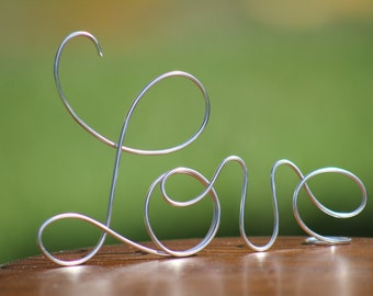 Silver Wire Love wedding Cake Toppers - Decoration - Beach wedding - Bridal Shower - Bride and Groom - Rustic Country Chic Wedding