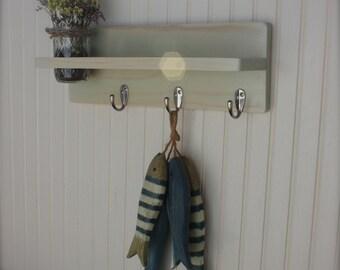 "IN STOCK - EBONY 16""  Wall Shelf with Hooks and Mason Jar Vase or Planter Custom Wood Home Decor"