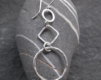 Silver dangle hoop earrings, long silver hoop earrings, hammered silver finish, handmade artisan dangle drop earrings by ARC Jewellery