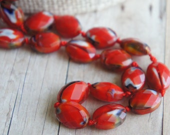 Glass Beads, Bead, Supplies, Czech glass Red czech glass oval faceted beads 5