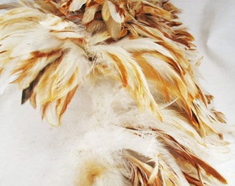 200+ feathers, ginger schlappen, natural, rooster feathers, bulk, wholesale, per strung foot