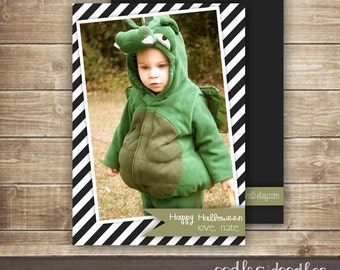 Halloween Photo Card, Black and White Stripes, Happy Halloween Card with Picture, Children's Photo Card, Stripes, Printable or Printed