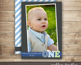 1st Birthday Photo Thank You Card / First Birthday / Personalized Photo Thank You Card / 1st, 2nd, 3rd Boy's Birthday - Printable or Printed