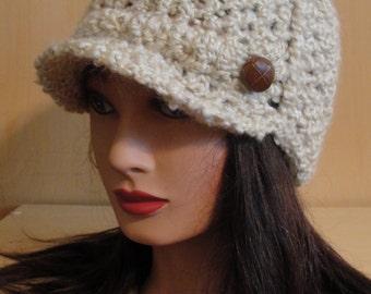 Women's Crochet Cream Ivory Newsboy Bill Brim Ribbed Beanie Hat