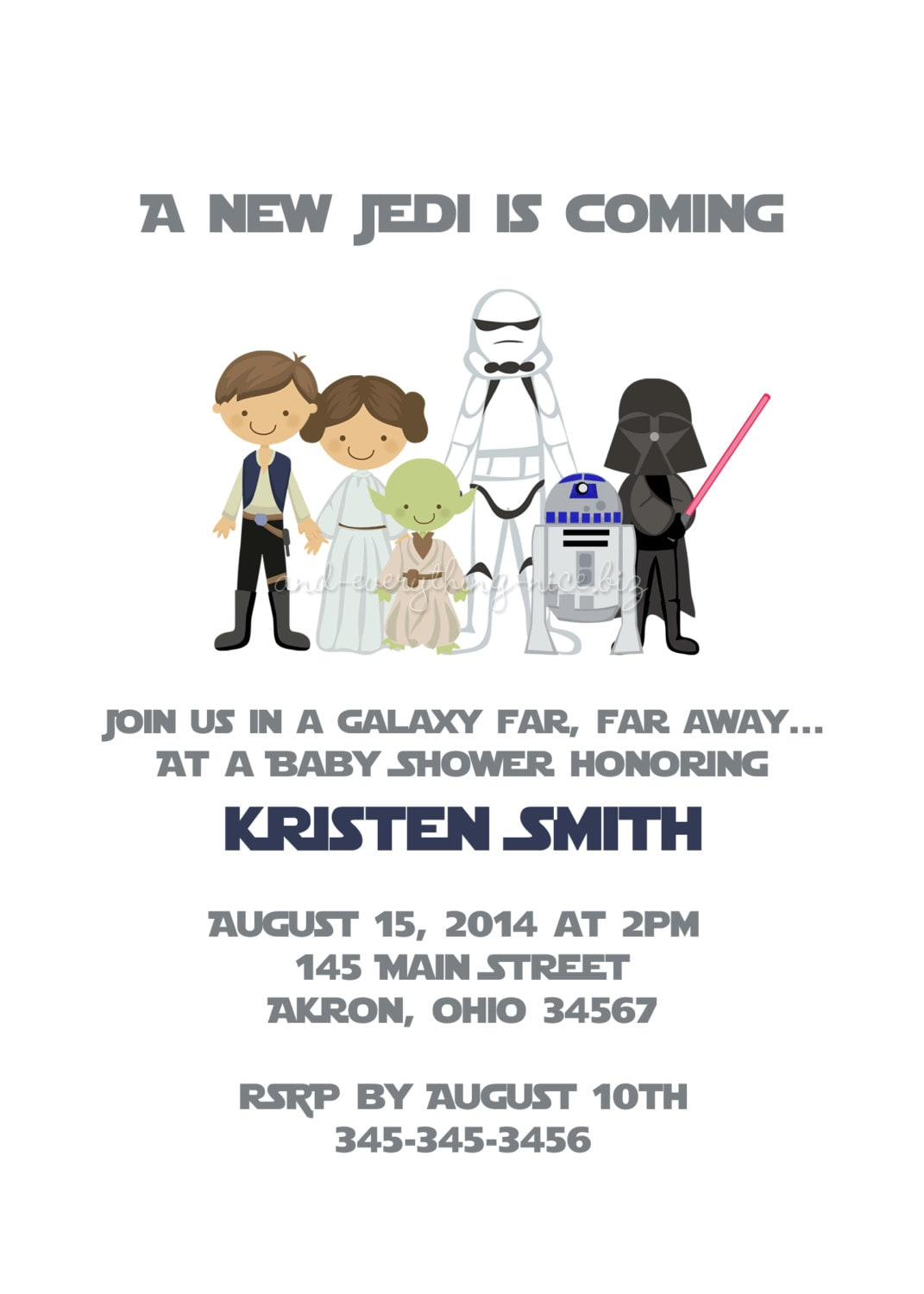 star wars baby shower bridal birthday invitations custom