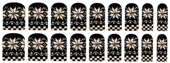Black and White Snowflake Knit Nail Decals