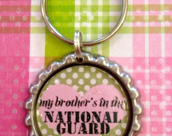 My Brother's in the National Guard military polka dot keychain