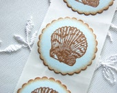 Seashell/ Clam Shell Stickers -Set of 12 Stickers/ Envelope Seals (Blue Summer Stickers/ Invitation Stickers/ Beach Theme)