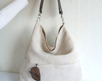 Linen tote bag, Hobo tote bag, natural linen color bag with lether strap, light beige tote, casual tote bag, simple tote purse