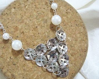 Button Bib necklace - antiqued silver button charms with acrylic pearls - statement necklace