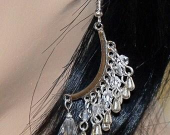 Silvertone Curved Crystal Raindrop Dangle Earrings
