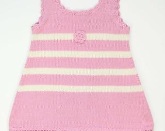 Girls knit dress Pink and cream Summer dress