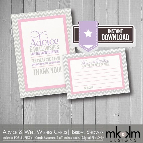 Items Similar To Advice Amp Well Wishes Cards Modern Chevron Bridal Shower Advice Cards Soon To